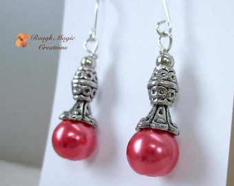 Hot Pink Pearl Earrings, Antiqued Silver, Bali Style Beads & Caps, 10mm Fuchsia Glass Pearls, Renaissance Christmas Jewelry for Woman E488
