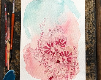 Original watercolor and ink painting on paper Russian Pattern artwork by Paula Mills
