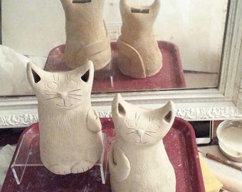 Custom Cat coin bank: HM made to order pottery feline design whimsical kitty stoneware cat lover gift