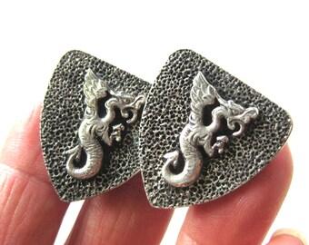 1950s Dragon Cuff Links / Men's Cufflinks / Sterling Silver Cuff Links / Heraldry / Griffin Shield / Unique Groom Jewelry Wedding Fantasy