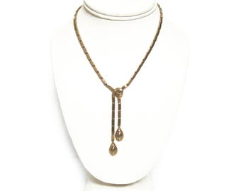 Vintage Crown Trifari Faux Lariat Style Necklace / Dangling Gold Link Necklace / Gift for Her / Gift for Wife / Fine Costume Jewelry