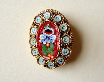 Vintage Micro Mosaic Brooch - Gorgeous Floral Design with Millefiore Glass