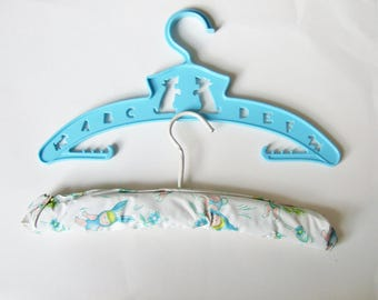 Two Vintage Nursery Coat Hangers - Very Cute Design of Children in Bunny Costumes and Kitsch Blue Plastic with Scottie Dogs