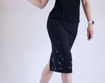 Black Cotton Tango High Waist Pencil Skirt with print and appliqué inspired by Miró