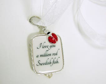 Wedding Memory Photo Charm with a Lady Bug for your Bridal Bouquet