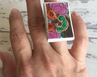 Statement Ring Koi Fish - Vintage Broken China Jewelry- Gold HUGE  Stocking Stuffer