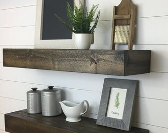 Set of Two Modern Rustic Floating Deep Shelves // Floating Shelves // Floating Shelf // Deep Floating Shelf // Wood Shelf // Kitchen Shelf