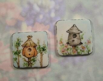 Bird House Button set of 2