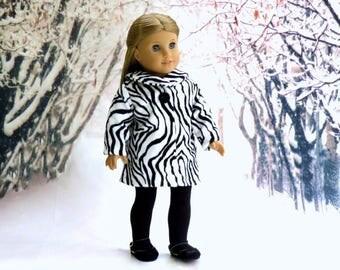 Zebra Stripe Swing Coat, 18 inch Doll Clothes Black White Stripe Winter Coat