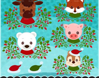 Christmas Animals clipart. Animal portraits, Baby fox, Baby squirrel, Baby moose, baby polar bear graphics, piglet, pig, cute wreath, frame