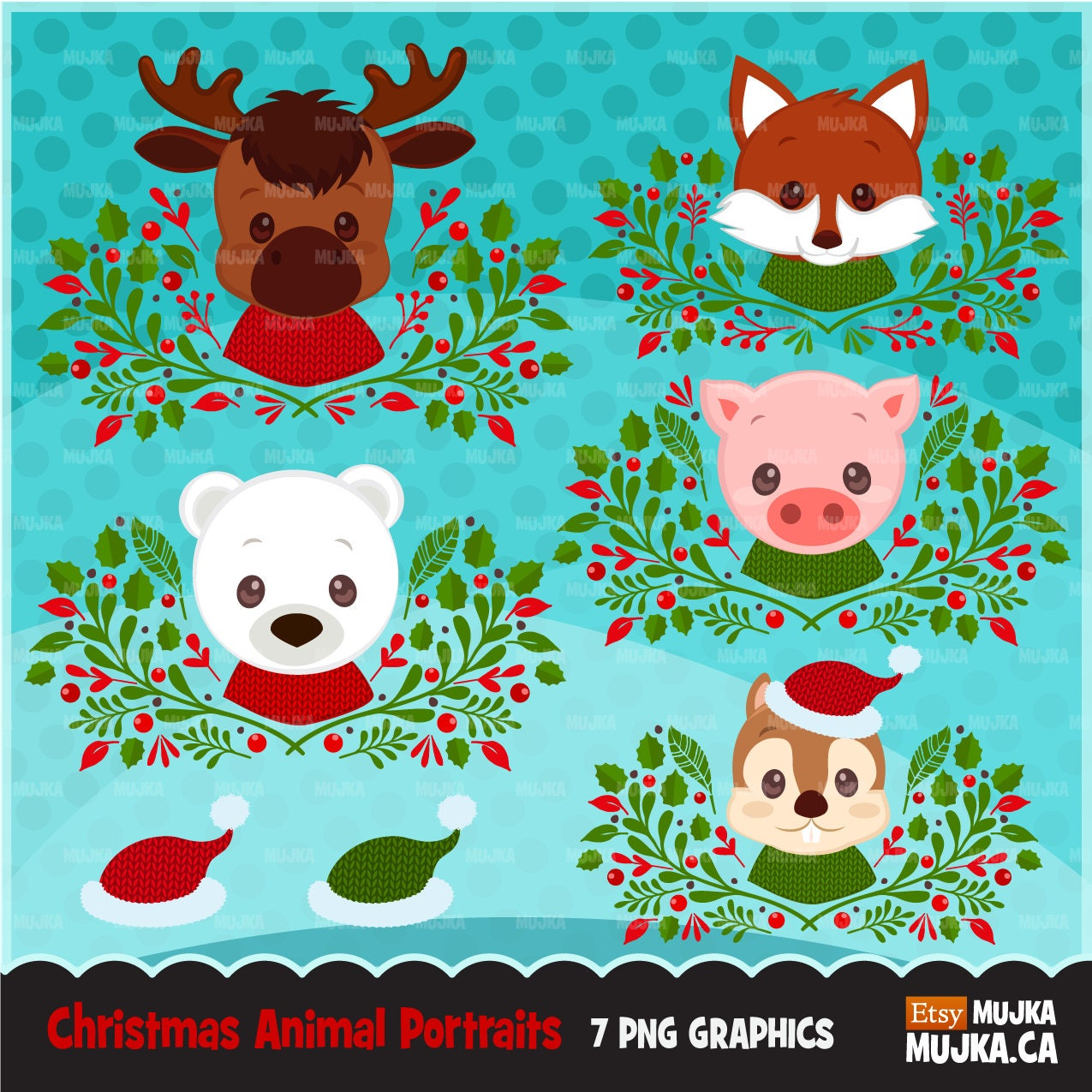 Christmas Animals clipart. Animal portraits Baby fox Baby