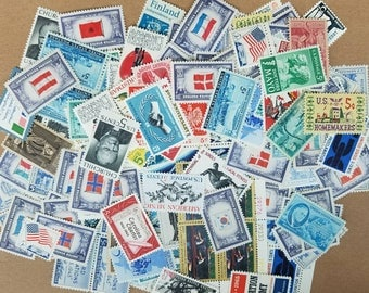 Vintage unused postage stamps: 5 cent denomination x 50+. Face value = 2.50 dollars.