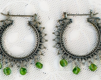 Chrome Diopside Bali Sterling Hoops