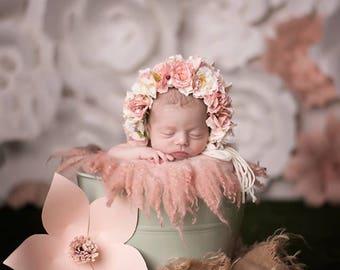 Flower Bonnet,  Floral Bonnet, Garden Bonnet, Baby hat, Baby Photo Prop, Newborn Photo Prop, Knit Baby Bonnet, Baby Girl Hat, Baby Hat