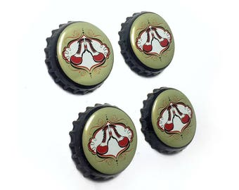 Beer Bottle Top Magnets, Clown Shoes Beer Magnets,  Massachusetts Refrigerator Magnets, Clown Shoes Brewery Bottle Cap Magnets