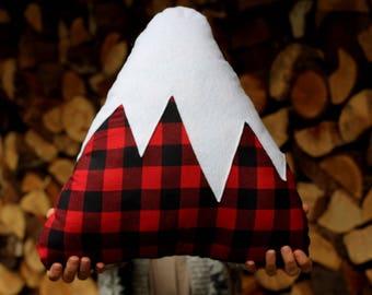 Buffalo Plaid Mountain Pillow Nursery Decor Baby Boy Christmas Display Holiday Snowy Mountain