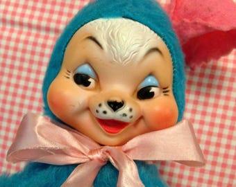 Vintage Retro Sweet Plush Rubber Face Rabbit Bunny Rushton Type Blue N Pink