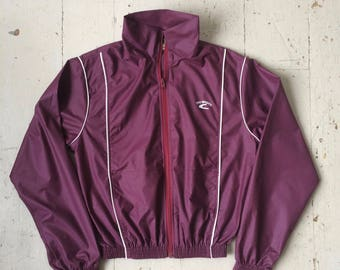 1970s PRO SPORTS Jacket Windbreaker Maroon with White Piping Size Medium That 70s Show