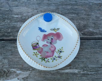 Vintage 1960/60s Limoges Baby plate , baby dish  pink elephant