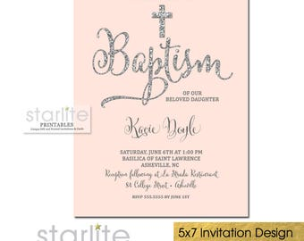 Baptism Invitation Girl, Pink and Silver Glitter Baptism Invitation, Girl Christening Invitation, Dedication, Blessing, Printed, Printable
