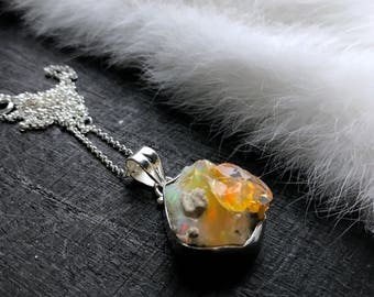 Raw Opal necklace   Natural opal necklace   Opal crystal necklace   Fire opal necklace   Opal in silver pendant