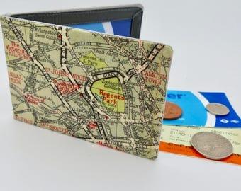 Oyster card holder, bus pass holder, travel card holder, wallet. London map print wallet .Regents park card wallet, Oyster card wallet.