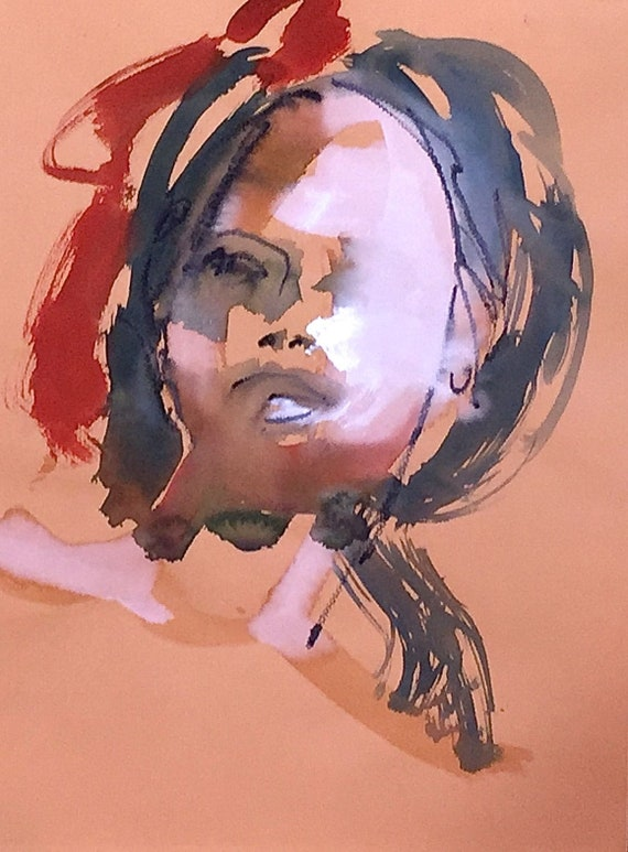 Portrait of Morgan- original watercolor portrait painting by Gretchen Kelly