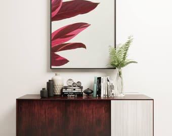 Plant Print, Minimal Botanical Art, Gift for Gardener, Kitchen Wall Art - Red Leaves I