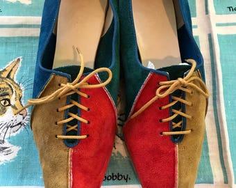 Vintage 1960's colour block suede oxfords 7 1/2 UK 5 bowling shoes red cobalt blue teal British tan