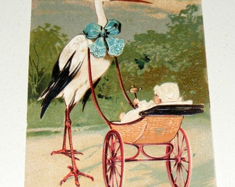 Antique German Postcard Stork pushing Victorian Pram Buggy with Baby Not mailed or signed