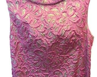 Pink and gold metallic brocade floor-length column dress - XS to Small - Circa 1960s -  Sleeveless - Mock turtleneck