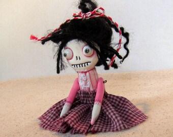 Megan - a spooky cute little handmade ghost  skelly Halloween doll