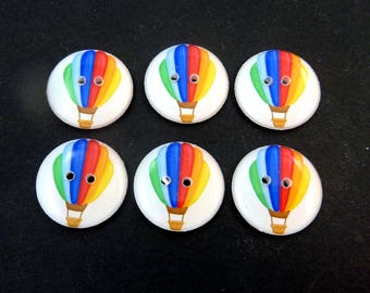 "6 Hot Air Balloons Buttons. 3/4"" or 20 mm Handmade Buttons."