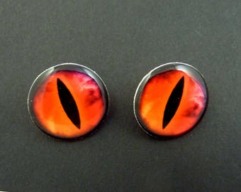 "2 Dragon Eye Buttons.  Pink and Orange Swirl Eye SHANK sewing buttons. 3/4"" or 20 mm round.  Set of TWO."