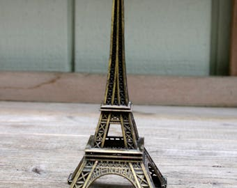 Antique Brass Color Metal Eiffel Tower, Made in France