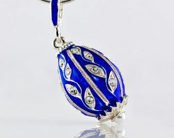 Enameled Pendant, Sterling Silver Jewelry Necklace Leaves on Blue, Egg Pendant w Swarovski Crystals, Charm Necklace Jewelry Gift for Woman