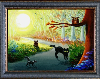 Fall Landscape Cat Owl Skunk Raccoon Wall Art Print Creationarts