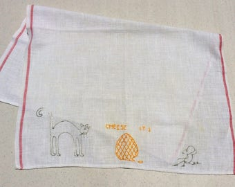 Vintage Embroidered Towel Cat and Mouse Cheese It