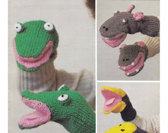 Animal Mitts. Knitting Pattern. Knitted Puppets. Frog puppet. Hippo Puppet. Bird Puppet.