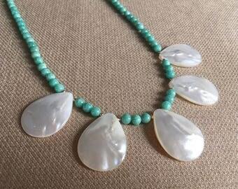Mother of Pearl Shell Bib Necklace, Amazonite Bib Necklace, Semiprecious Gemstone, 14K GF Aqua White Necklace Resort Beach Wedding