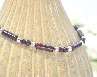 Dark Red Ankle Bracelet Small Anklet Minimalist Anklet Beaded Ankle Bracelet Handmade Jewelry