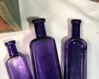 Vintage PURPLE BOTTLE Lot - Amethyst Antique Bottles- Instant Collection Wedding Table Decor- R62