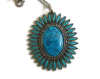 Faux Turquoise Pendant Necklace Vintage