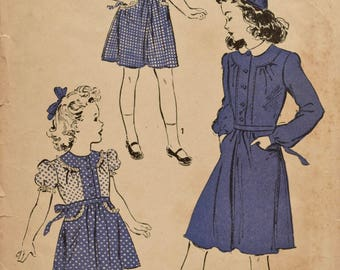 Vintage 1940s Advance 3328 Sewing Pattern Young Girl's Dress Puff Sleeve Long Sleeve Tie Belt Retro Fashion Vintage Sewing  Size 8 Bust 26