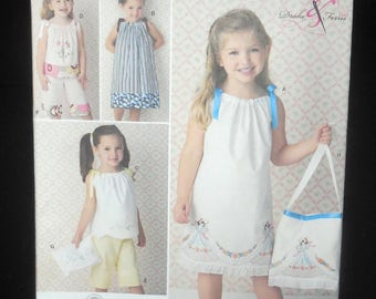 Simplicity 2391 - EASY Sew Girls' or Toddlers' Pillowcase Dress, Pants, Purse, Bag - Upcycle, Recycle, DIY Kids Fashion, Size 3 - 8 - UNCUT