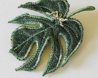 Textile Art Brooch Monstera deliciosa Leaf Botanical Fiber Art Jewelry Philodendron Gift for Her