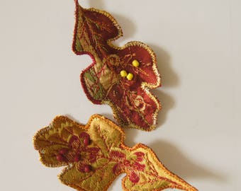 Autumn Oak Leaf Hair Clips Set of Two Fall Woodland Accessory Botanical Textile Art Tree Nature Lover Free Shipping