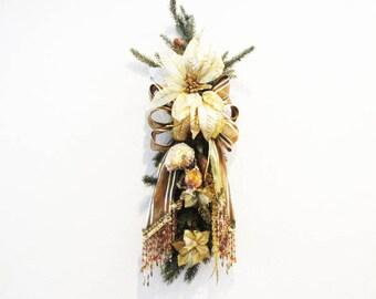 Gold Brown Rust Elegant Victorian Beaded Christmas Holiday Pine and Fruit Vertical Door Swag Wreath