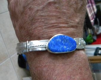 Mens bracelet in Sterling silver and Lapis Lazuli