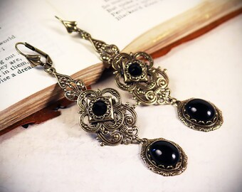 Medieval Jewelry, Black Earrings, Medieval Garb, Renaissance Festival, Tudor Costume, Garb, Gothic Victorian Earrings, Handfasting, Avalon